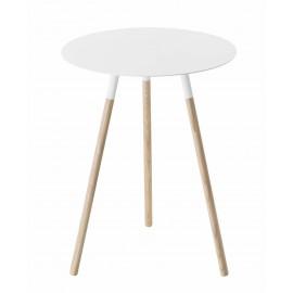 Stolik biały na drewnianych nóżkach